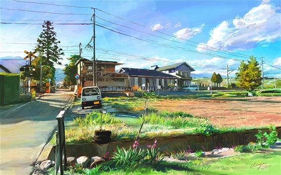 Fond d'écran Peinture d'art, Japon, paysage, village