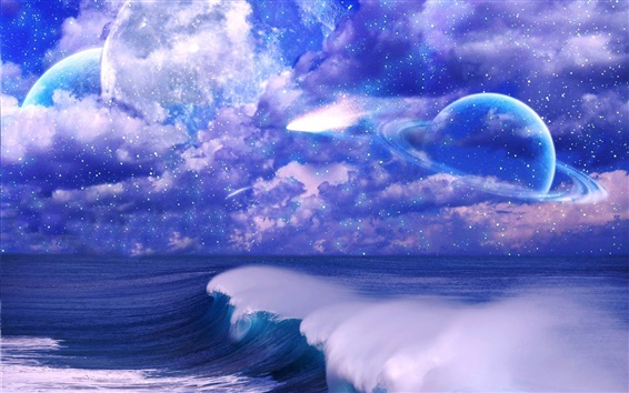Wallpaper Art pictures, space, sky, clouds, stars, planet, sea, waves