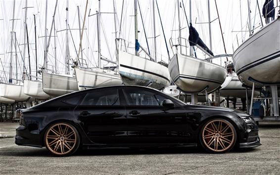 Fondos de pantalla Audi S7 Hamana coche negro vista lateral