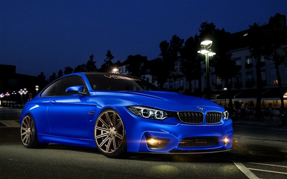 Wallpaper BMW 4 Series M4 blue car