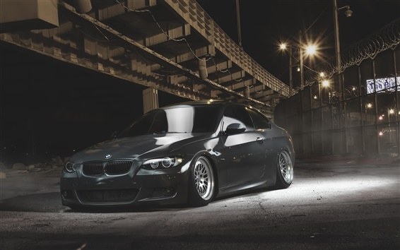 Wallpaper BMW E92 Coupe black car at night