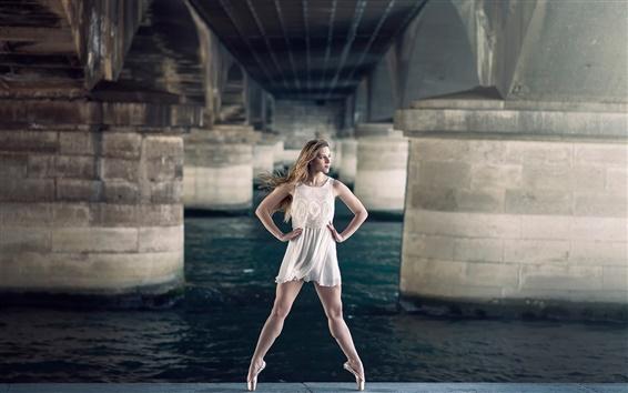 Wallpaper Beautiful girl, ballerina, grace, bridge