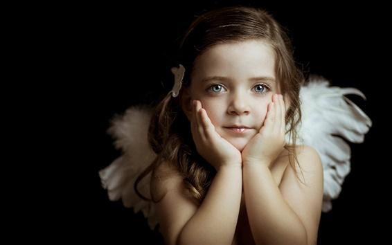 Обои Красивый маленький Ангел, девушка, глаза