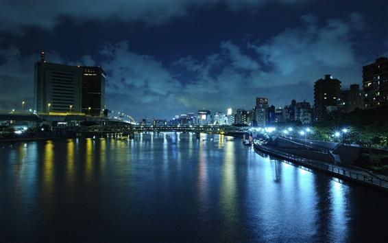 Wallpaper Beijing, China, night, lights, river, buildings