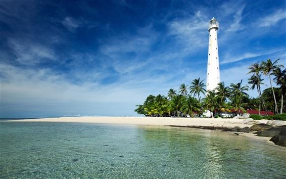 Papéis de Parede Belitung Island, Indonésia, Mar de Java, farol, costa, palmeiras