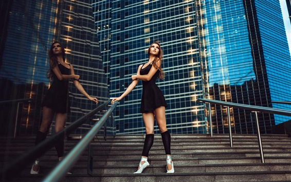 Wallpaper Black dress girl, city, ballerina, grace, stairs