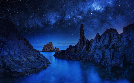 Wallpaper Blue Monolith, rocks, stars, sea, night