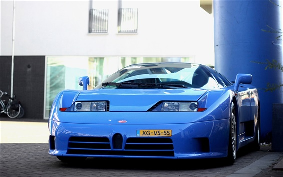 Wallpaper Bugatti EB 110 blue supercar front view