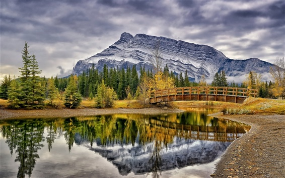 Wallpaper Cascade Ponds, Banff National Park, Canada, trees, bridge, mountains