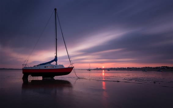 Wallpaper Coast, boat, sea, beach, evening, sunset