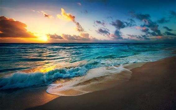 Papéis de Parede Costa, mar, ondas, sol, nuvens