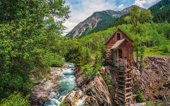 Wallpaper Colorado, water mill, river, forest, trees, mountains