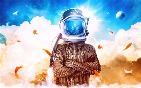 Wallpaper Creative pictures, desktopography, helmet, fish, clouds