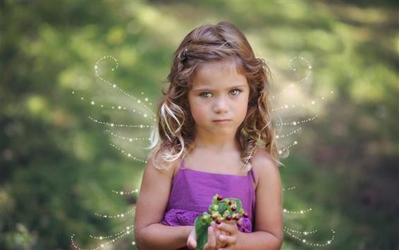 Fond d'écran La petite fille mignonne, ailes, ange