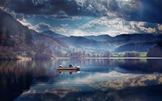 Wallpaper Dusk, lake, boat, water reflection, clouds
