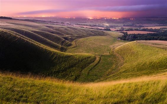 Wallpaper England, valley, fields, sky, evening, lights, summer