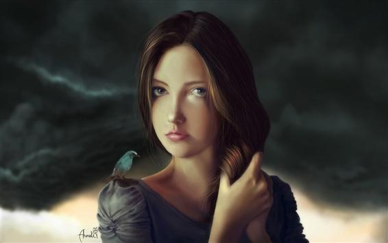 壁紙 ファンタジー少女、茶色の髪、鳥