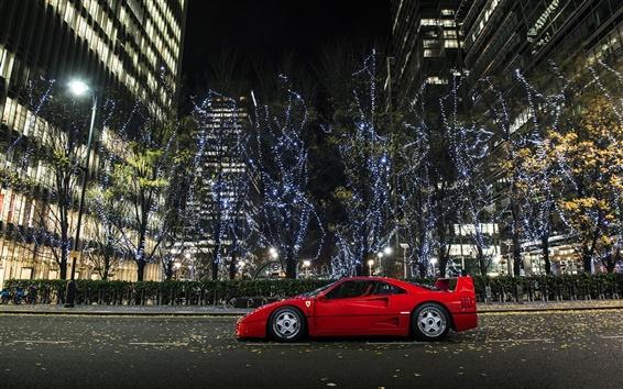 Wallpaper Ferrari F40 supercar, city, night, lights
