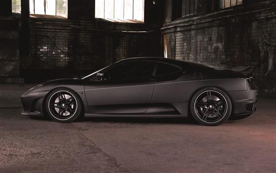 Обои Ferrari F430 спортивный автомобиль, вид сбоку, матовый черный