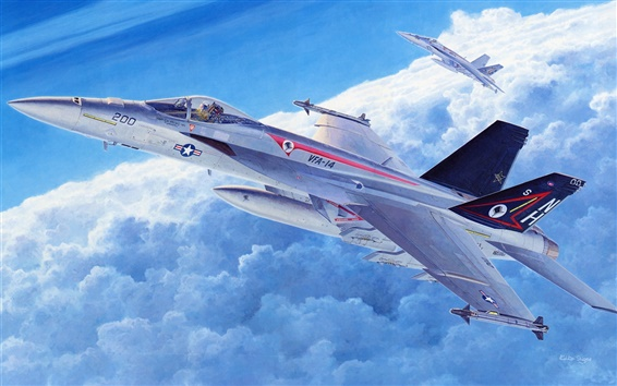 Hintergrundbilder Kampfflugzeuge, Kunstbilder, Himmel, Wolken