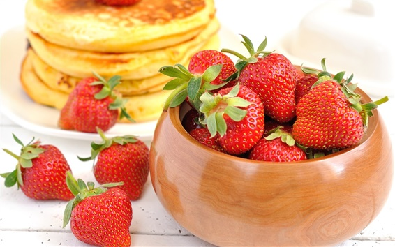 Wallpaper Food, strawberry, berry pancakes