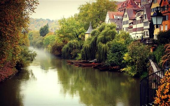 Wallpaper Germany landscape, fall, fog, river, boats, trees, houses
