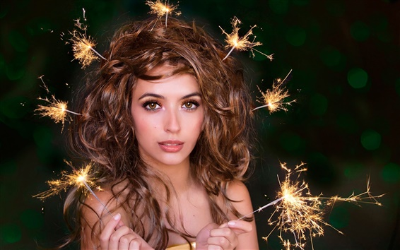 Wallpaper Girl, portrait, sparklers, hairstyle