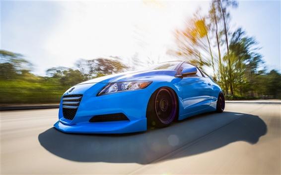 Обои Honda CR-Z синий автомобиль вид спереди