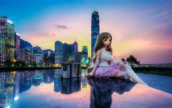 Обои Гонконг, Китай, город, здания, игрушки, куклы, красивая девушка