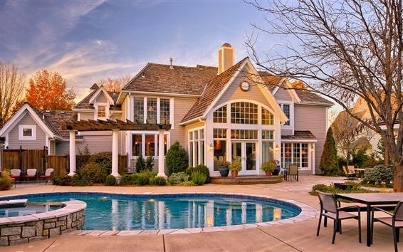 Wallpaper House, building, yard, pool