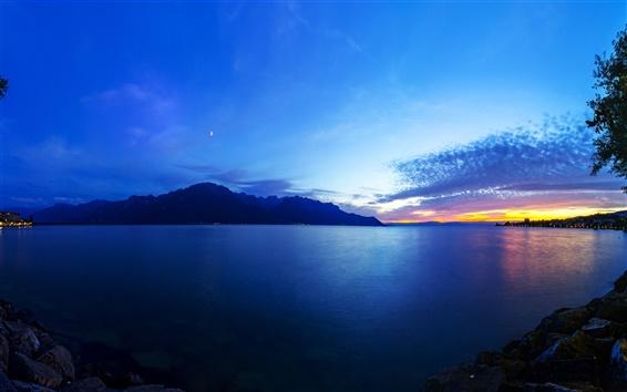 Fond d'écran Lac Léman, en Suisse, les montagnes, les lumières, bleu, soir