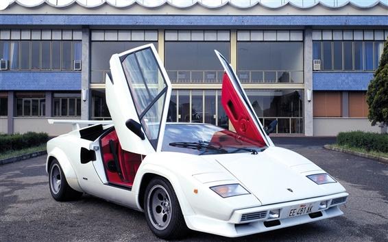 Fond d'écran Supercar blanc de Lamborghini Countach LP5000
