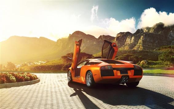 Wallpaper Lamborghini Murcielago V12 orange supercar back view