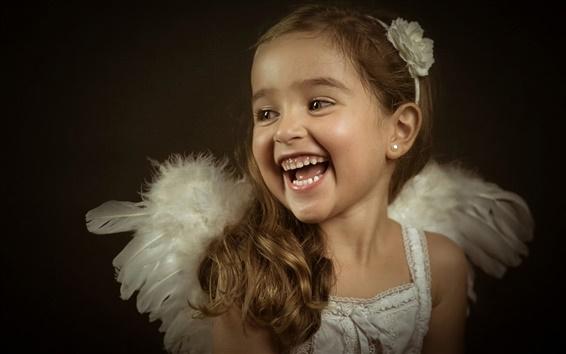 Обои Маленький ангел, милые девушки, смеясь, портрет