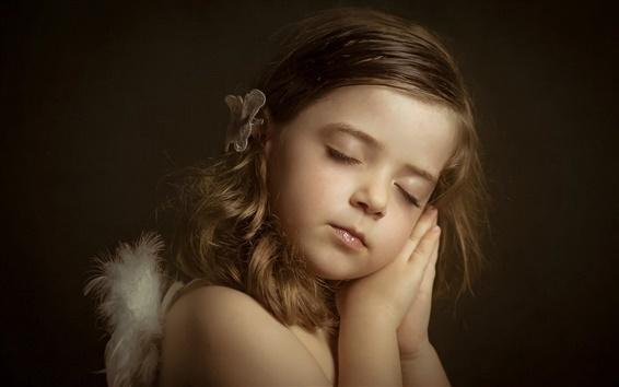 Papéis de Parede Pouco anjo, menina bonito, sono