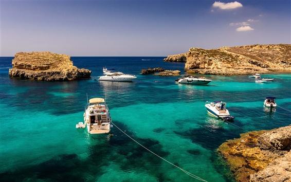 壁紙 マルタ、ヨット、海、岩、夏