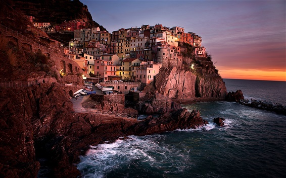 Обои Манарола, Италия, ночь, дома, скалы, берег