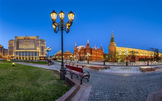 Wallpaper Manezh Square, Moscow, Russia, Kremlin, lights, night