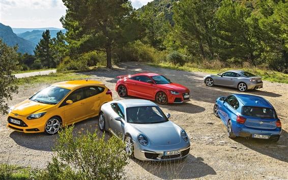 Wallpaper Many cars, Ford, Porsche, BMW, Audi, Toyota