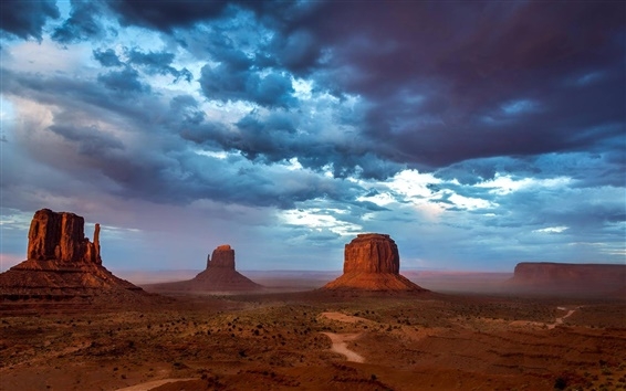 Wallpaper Monument Valley, USA, mountains, sky, blue clouds, evening