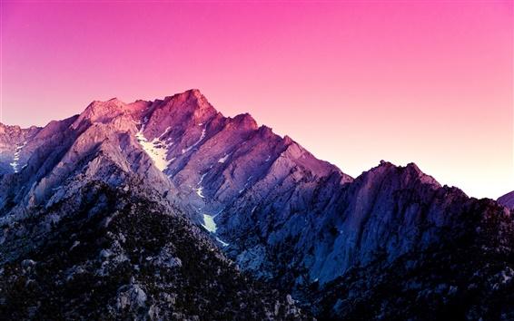 Fond d'écran Montagnes, ciel pourpre, crépuscule
