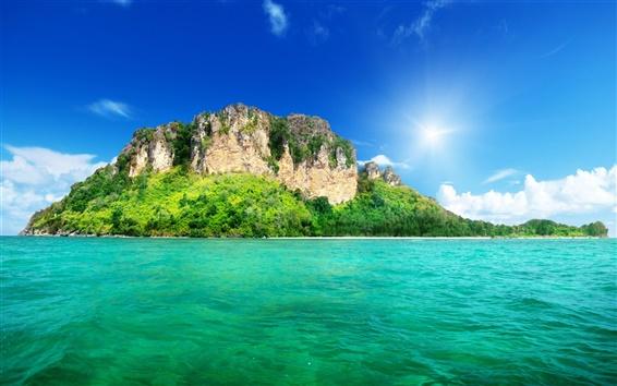 壁紙 自然の風景、海、島、木、緑、空、雲