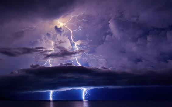 Wallpaper Night, sea, ocean, lightning, sky, clouds