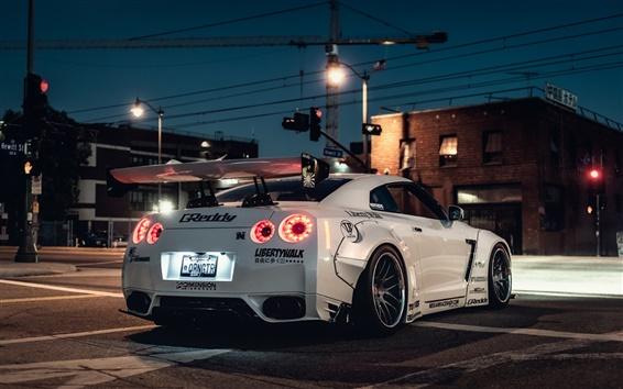 Fondos de pantalla Vista posterior superdeportivo blanco Nissan GT-R