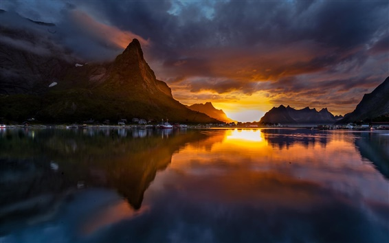 Wallpaper Norway, Reine, mountains, sunset, lake