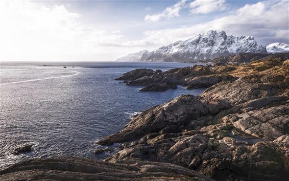Wallpaper Norway, fjord, cliff, mountains, sea