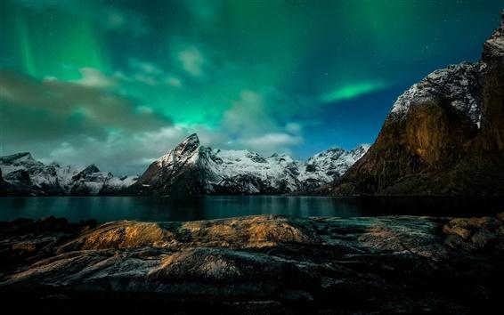 Papéis de Parede Noruega, noite, montanhas, luzes do norte, costa