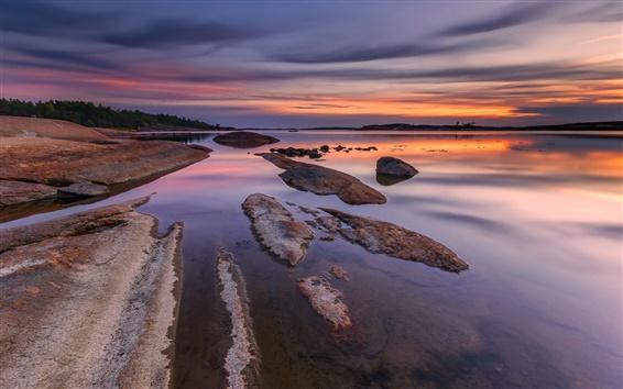 Fond d'écran Norvège, rivière, plage, pierres, soirée, coucher de soleil, ciel, nuages