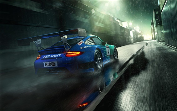 Обои Porsche 911 GT3 синий суперкар вид сзади, капли дождя
