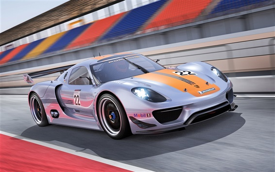Обои Porsche 918 RSR Concept вид суперкара сторона